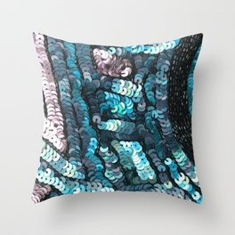 Turquoise Teal Black Sequin Design Throw Pillow