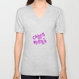 Chaos Has No Master Purple Graffiti Text Unisex V-Neck
