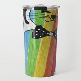Rainbow flag smug cat in bow tie Travel Mug