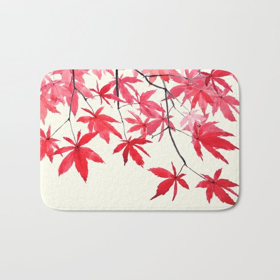 red maple leaves watercolor painting Bath Mat