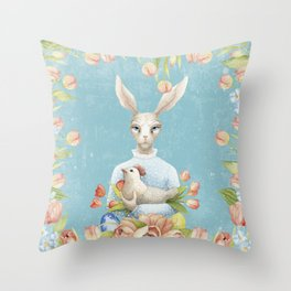 Beautiful Floral Flowers Female Animal Easter Bunny Throw Pillow
