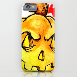 Scary pumpkim face iPhone Case
