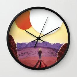 Retro Space Poster -kepler 16b Wall Clock