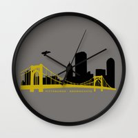 pittsburgh Wall Clocks featuring Pittsburgh Browncoats by Caroline Moore