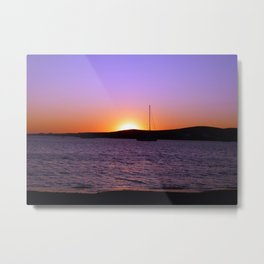 Sunset Sail, Paros Island, Greece Metal Print
