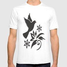 Bird Flower Mens Fitted Tee MEDIUM White