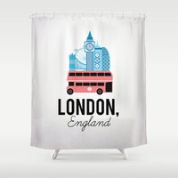 england Shower Curtains featuring London, England by Milli-Jane