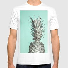Silver Mint Pineapple Mens Fitted Tee White MEDIUM
