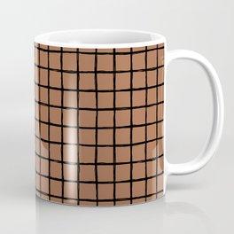 Geometric raster minimal raw brush strokes grid pattern copper Coffee Mug