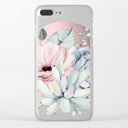 Pretty Succulents Marble - Rose Gold Sun by Nature Magick Clear iPhone Case