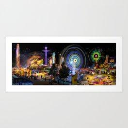 Fairground Attraction panorama Art Print