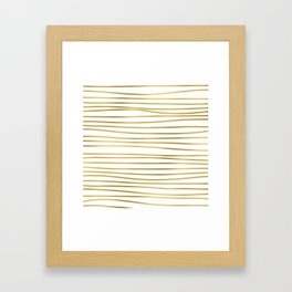 Small simply uneven luxury gold glitter stripes on clear white - horizontal pattern Framed Art Print