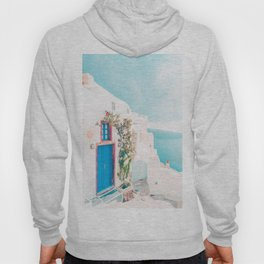 Santorini Greece Blue Door Cozy Photography Hoody