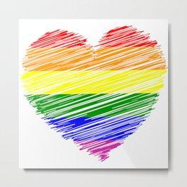 Gay Pride Heart Metal Print