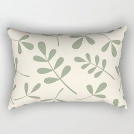 Green on Cream Assorted Leaf Silhouettes Rectangular Pillow