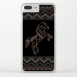 Ethnic pattern with a horse and american indian traditional ornament in brown and blue colors. Clear iPhone Case