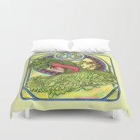 mucha Duvet Covers featuring Art nouveau. Spices and vegetables by Mari Anrua