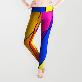 Slanting repetitive lines and rhombuses on bright yellow with intersection of glare. Leggings