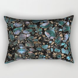 Terrazzo - Shimmering Agate and gold on marble #2 Rectangular Pillow