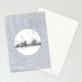 Detroit, Michigan City Skyline Illustration Drawing Stationery Cards