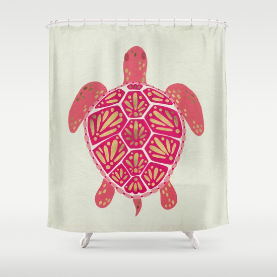 Sea Turtle Pink Gold Shower Curtain By Cat Coquillette Society6