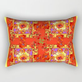 PATTERNED  RED & GOLD ART DECO ORANGE-RED POPPIES Rectangular Pillow