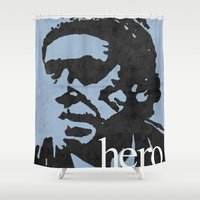 bukowski Shower Curtains featuring Charles Bukowski - hero. by alex lodermeier