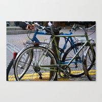 bicycles Canvas Prints featuring Bicycles by love indigo
