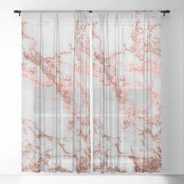 Stylish white marble rose gold glitter texture image Sheer Curtain