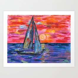 Sail at Dusk Art Print