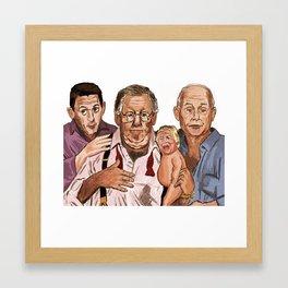 Three Men and a Trump Baby Framed Art Print