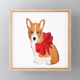 Cute corgi with a bow,beautiful gift idea for corgi lovers Framed Mini Art Print