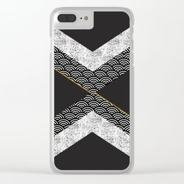Abstract composition of textures with geometric shapes Clear iPhone Case