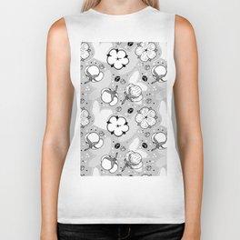 BW cotton flowers pattern Biker Tank