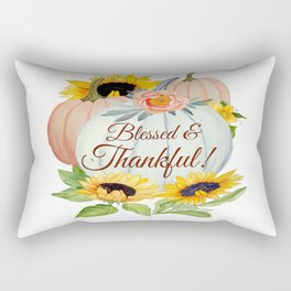 Blessed and Thankful pumpkin and flowers Rectangular Pillow