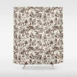 Alice in Wonderland | Toile de Jouy | Brown and Beige Shower Curtain