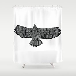 The Raven by Edgar Allan Poe Typography Shower Curtain