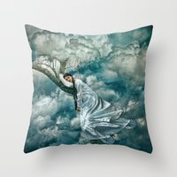 sleep Throw Pillows featuring Sleep by Spoken in Red