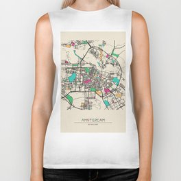 Colorful City Maps: Amsterdam, Netherlands Biker Tank