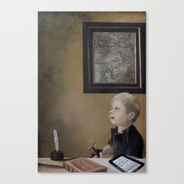 Boy With A Red Airplane  Canvas Print