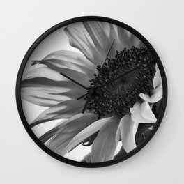 Sunflower Black & White Wall Clock