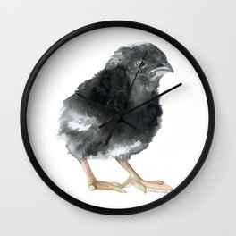 Barred Rock Chick Watercolor Wall Clock