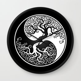 White and Black Tree of Life Yin Yang Wall Clock
