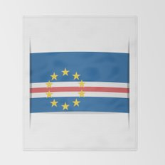 Flag of Cape Verde, officially the Republic of Cabo Verde. The slit in the paper with shadows. Throw Blanket