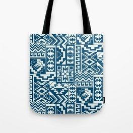 Blue Denim Geometric Tote Bag