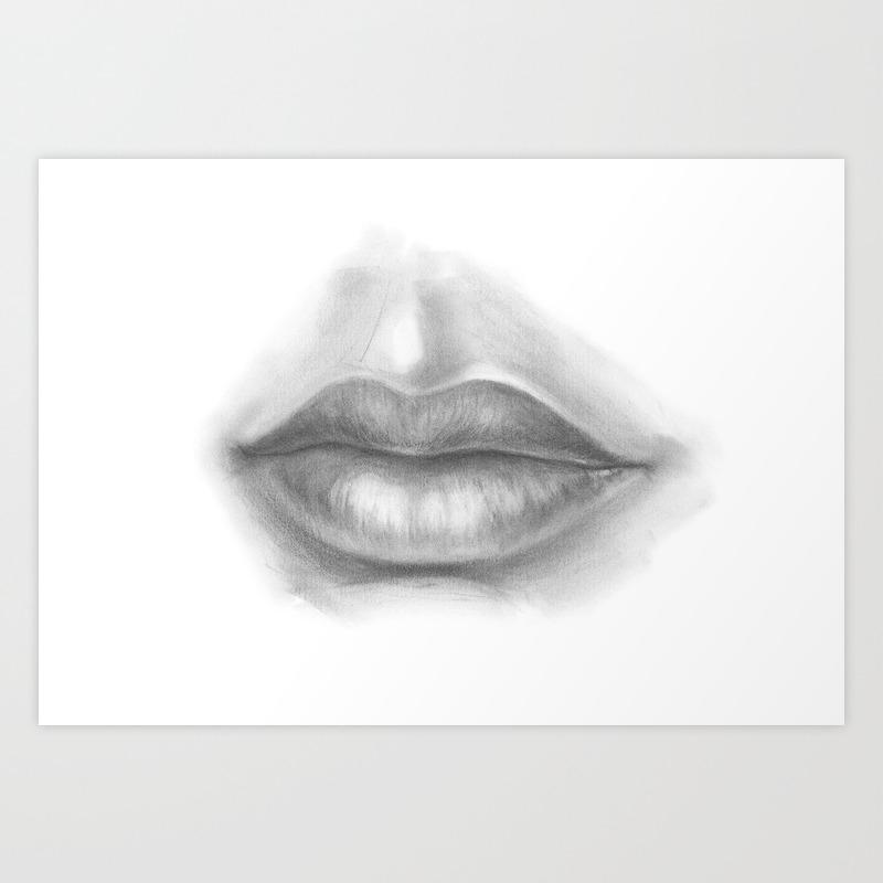 Lips drawing seductive woman sexy lady pencil art human life drawing figures people art print