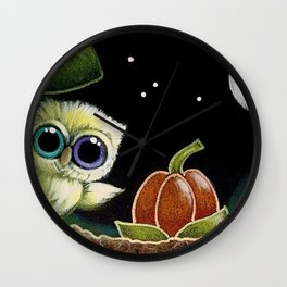 TINY OWL with ODD EYES - 1ST HALLOWEEN PUMPKIN Wall Clock