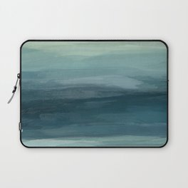 Seafoam Green Mint Navy Blue Abstract Ocean Art Painting Laptop Sleeve