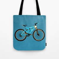 brompton Tote Bags featuring Mountain Bike by Wyatt Design