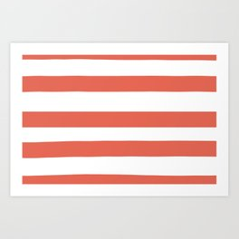 Inspired by Pantone Living Coral 16-1546 Hand Drawn Fat Horizontal Lines on White Art Print